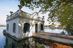 View of old bathhouse in Lake of Banyoles Stock Image