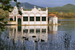 View of old bathhouse in Lake of Banyoles Royalty Free Stock Images