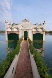 View of old bathhouse in Lake of Banyoles Stock Images