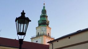 View on old beautiful historical buildings with clock, Czech rep. stock video