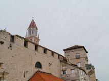 View on old bell tower in the Croatian city Trogir Stock Images