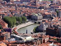 View of old Bilbao Downtown. Aerial view of old Bilbao City Center with the river. Picture from the Artxanda viewing Point Stock Photos