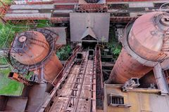 View from old blast furnace on Mining and metallurgical plant in Nizhny Tagil Royalty Free Stock Photos