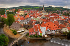 View of the old Bohemian city. View of the lower part of the medieval city of Cesky Krumlov, Bohemia, Czech Republic Royalty Free Stock Photography