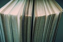 View of old book pages. Education and wisdom concept. Royalty Free Stock Photography