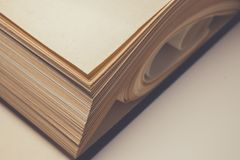View of old book pages. Education and wisdom concept. Royalty Free Stock Photo