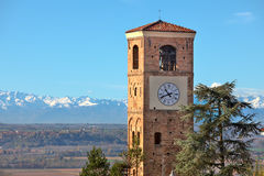 Old belfry. Santa Vittoria D'Alba, Italy. Stock Photo