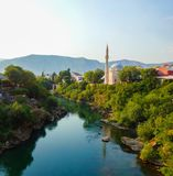 View from the Old Bridge in Mostar, Bosnia and Herzegovina Stock Photo