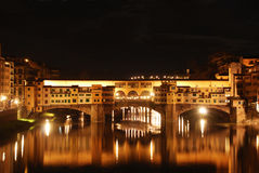 View of the Old Bridge at night - Florence - Italy Royalty Free Stock Photography