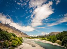 View of Shotover River and Bridge, Queenstown, NZ Stock Photos
