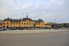 View of old building of centra railway station. Uppsala, Sweden, Europe. Beautiful landscape backgrounds. View of old building of centra railway station royalty free stock photo