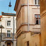 View of old building in european city, architecture of Lviv street royalty free stock images