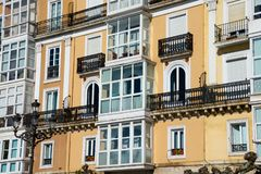 View of an old building facade and balconies. Santander, Spain royalty free stock photos