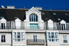 View of an old building facade and balconies. Santander, Spain stock images