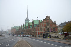 View of the old building of the stock exchange `Borsen` 1640. foggy November day. Copenhagen Royalty Free Stock Photo