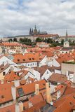View of Mala Strana in Prague. View of old buildings from above and Prague Hradcany Castle at the Mala Strana District Lesser Town in Prague, Czech Republic Stock Photography