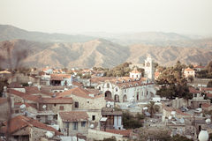 View of old buildings of the authentic Cyprus village. In mountains Stock Photos