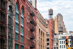 View of the old buildings in the Tribeca neighborhood of Manhattan, New York City. View of the old buildings on Franklin Street in the Tribeca neighborhood of royalty free stock photo