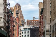 View of the old buildings and water towers in the Tribeca neighborhood of Manhattan, New York City. NYC royalty free stock photo