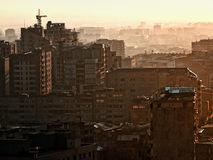 View of old buildings in Yerevan. At sunset Stock Images