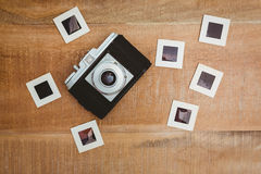 View of an old camera with photo slides Stock Photos