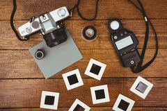 View of an old camera with photos slides Royalty Free Stock Photography