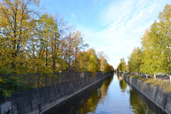 View of the old canal in Kronstadt. Royalty Free Stock Images
