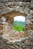View through old caslte window Royalty Free Stock Image
