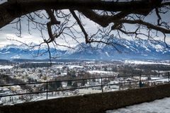 View from old castle on ancient city of Salzburg, Austria Royalty Free Stock Photography