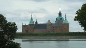 KALMAR, SWEDEN - VIEW OF CASTLE OF KALMAR. View of an old castle in the city of Kalmar in Sweden, beautiful architecture and design stock video footage