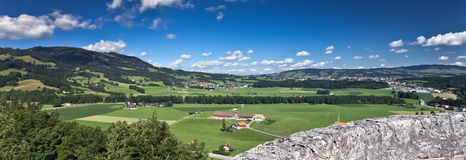 Panoramic Alpine landscape from old castle, Gruyere - Switzerland Royalty Free Stock Photos
