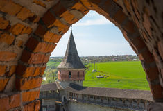 View of the Old Castle of its loopholes. At Kamyanets-Podilsky, Ukraine Stock Photo
