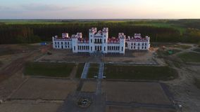 View of the old castle Puslovsky. Kossovo, Belarus aerial video stock video