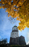 Old castle and Saint Olaf tower in Vyborg, Russia Stock Photo