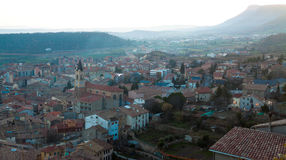 View of old Catalan town in sunset. Berga Stock Photo