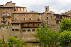 View of old catalan village. Rupit i Pruit Royalty Free Stock Images
