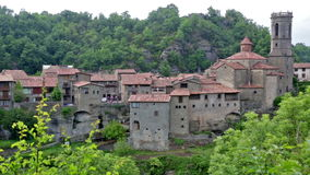 View of old catalan village stock footage