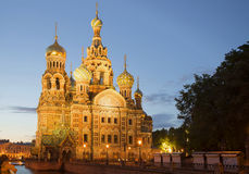 View of the old Cathedral of Resurrection white night. Saint Petersburg Stock Photos