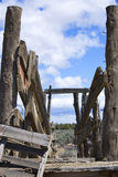 View into Old Cattle Chute in the Desert. Vertical image of a look into an old, wooden cattle loading chute in the Central Oregon desert Stock Photos