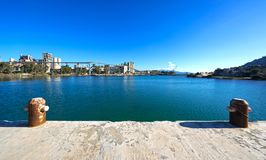 Old cement plant at Chalkis, Greece. View of the old cement plant and port facilities of Chalkis, Greece Stock Photos