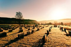 View of the old cemetery with stone tombstones Royalty Free Stock Photos