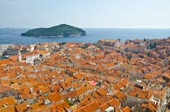 View on old center of Dubrovnik city and Church Royalty Free Stock Image