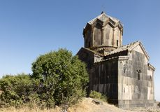 View of an old church next to the medieval fortress of Amberd in Royalty Free Stock Photography