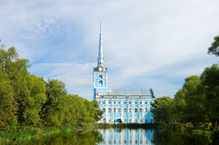View of old church and  reflexion in water Royalty Free Stock Photos