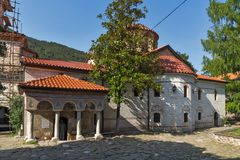 Old churches in Medieval Bachkovo Monastery, Bulgaria stock image