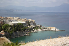 View from the Old citadel on Corfu Town (Greece). View from the Old Venetian citadel (Palaio Frourio in Greek) on the oldest part of the Corfu Town (Greece Royalty Free Stock Photo