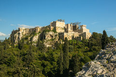 View of old city Acropolis. Construction began in 447 BC in the Athenian Empire. Stock Image
