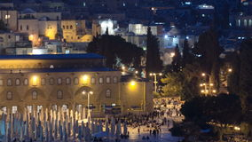 View of the old city andal-aqsa mosque night timelapse from the Mount of Olives., Jerusalem, Holy Land stock video