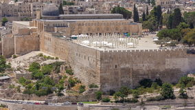 View of the old city andal-aqsa mosque timelapse from the Mount of Olives., Jerusalem, Holy Land stock video