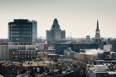 View of Old City from the Ben Franklin Bridge Walkway, in Philad Royalty Free Stock Photography